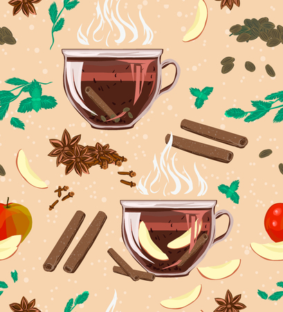 A seamless cozy pattern with large-leaf black tea, mint, cinnamon, cloves, cardamom and apple. Vector illustration for cover, wrapper promotional product, menu or recipe. Aroma, the taste of this useful tea!