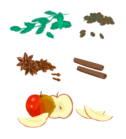 Cardamom, mint, apple sliced, cinnamon and cloves - set, collection of ingredients, spices for adding to tea, food.Spicy fragrant smell and exotic taste - Cover for packing products