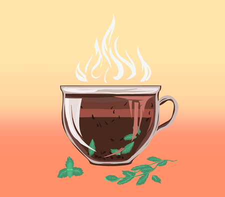 Black leafy herbal tea in cup of cinnamon and mint. Fragrant tasty morning drink with beneficial properties for cleansing detoxifying body, for peace of mind. Vector flat cozy illustration. 向量圖像