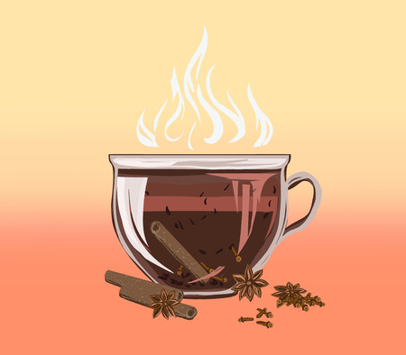 Black leafy herbal tea in a cup with cinnamon and cloves. Fragrant tasty morning drink with beneficial properties for cleansing detoxifying body, for relax. Vector flat cozy illustration recipes and advertising. 向量圖像