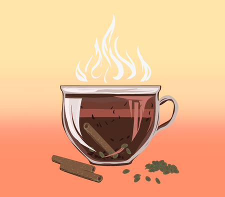 Black herbal tea in a bowl cup of cinnamon and carded cardamom. Аragrant tasty morning drink with beneficial properties for cleansing detoxifying body, for losing weight. Vector flat cozy illustration. Иллюстрация