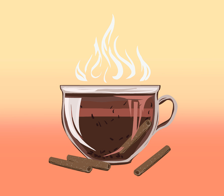 Herbal black leaf tea with cinnamon. Vector illustration for web, recipes and Design packaging. Vitamin hot diet drink for weight loss and detoxification. Flat stylish drawing. 向量圖像