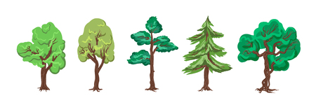 European Day of Parks. Holiday of May 24. Trees for a botanical garden, forest, entourage - collection, vector set isolated on white background. Cartoon Game flash flat graphic trees for background. 向量圖像