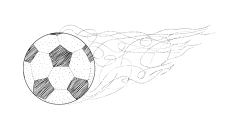Vector Dots, lines Silhouette of a Football / Soccer ball isolated on white background in a grungy, letterpress look. Sport poster banner world championship.
