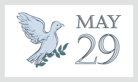A postcard by May 29 is the international day of the United Nations of peacekeepers UN. Dove, pigeon with branch and text - isolated on white background. Illustration