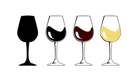 The silhouette wineglass icon with white and red wine - Flat Vector illustration graphic and web design. Internet concept Goblet symbol for web button, mobile app. National wine day.