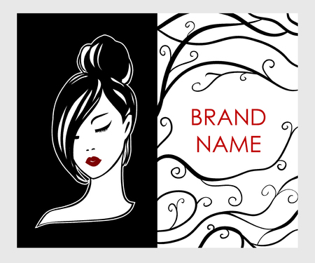 Business card, flyer with logo emblem of girl in black and white style - fashionable stylish design concept. Red lips on a white face - print vector fashion template for beauty salons and hairdressing 向量圖像