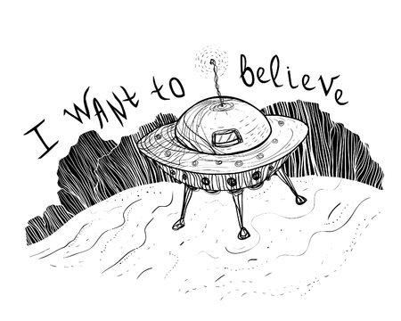 UFO aliens near a forest funny hand drawn sketch  illustration, print design on a poster or T-shirt.