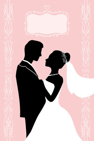 Flat ink Silhouette Bride and groom - wedding vector invitation greeting card in elegant romantic decorative style. A loving couple hugs - passion love of young people.