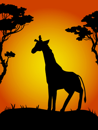 Silhouette of vector ink giraffe walking on sand in the desert surrounded by dry trees - poster for print. Hot Sunset in the African country. 向量圖像