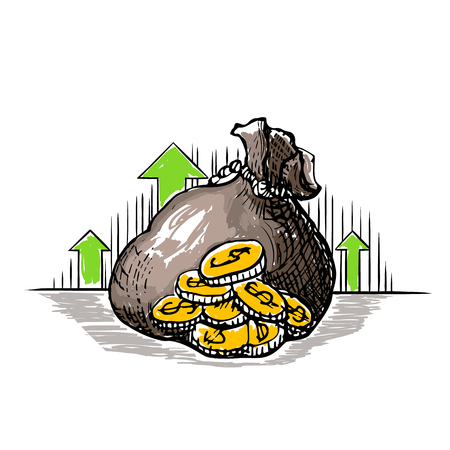 Vector color cartoon ink illustration Money bag - hand drawn sketch icon golden coins dollars sign isolated on white background. Symbol of safe storage and wealth, green arrows indicate a rise profit. Ilustração