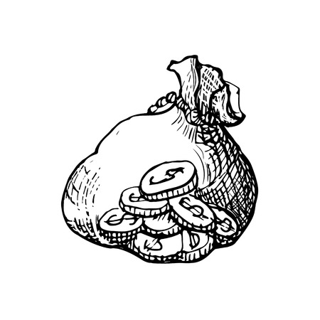 Vector vintage engraved ink illustration Money bag - hand drawn sketch icon moneybag dollar sign isolated on white background. Symbol of safe storage and wealth for a businessman 向量圖像
