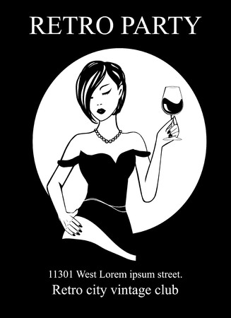 Poster Art Deco Retro Party 20th century style - ink silhouette girl in pearl necklace with wine glass. Invitation card on National wine day - Handmade drawing illustration Vintage minimalist style.