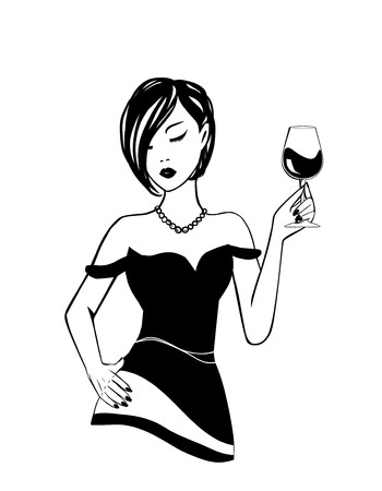Art Deco Retro Party 20th century style - ink silhouette drawing of a girl with short hair in a pearl necklace, in her hand a wineglass. National wine day. Vector fashion woman lifestyle
