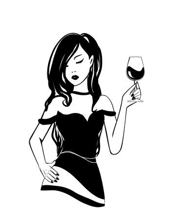 Isolated logo Silhouette of black and white stylish young girl with glass of alcoholic booze in National wine day. Party poster, illustration of fun fashion lifestyle woman with long curly hair