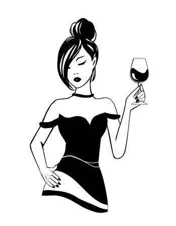 Isolated logo Silhouette of black and white stylish young girl on white background with glass of alcoholic booze in National wine day. Party poster, illustration of a fun elegant fashion lifestyle.