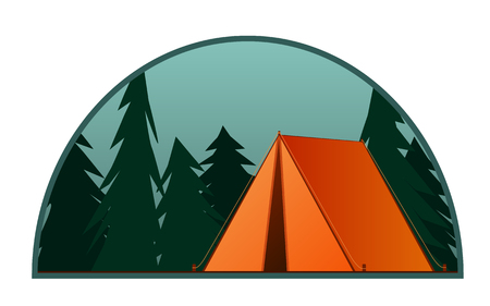 Orange tent. Summer camp background. Vector flat illustration nature tourism, camping or hiking design concept. Semicircular emblem, poster for tourist vacations in the forest. Healthy lifestyle