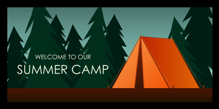 Orange tent. Welcome to our Summer camp background. Vector flat illustration nature tourism, camping or hiking design concept. Template for print emblem, tourist vacations poster in the forest.