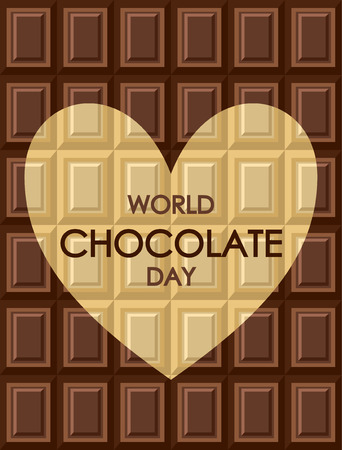World chocolate day. Tiles of dark milk White and black chocolate. Background texture for wallpaper, wrapper, cover and packaging of desserts. Heart shape - card about love of sweets Иллюстрация