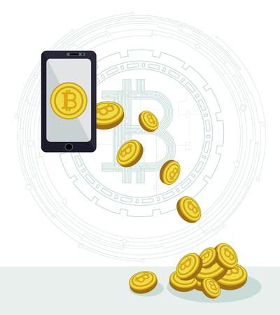 Payment online via smartphone crypto currency. The concept of bitcoins brings profit. Payments, purchases, sales and investments. Global interactions with crypto money via phone online