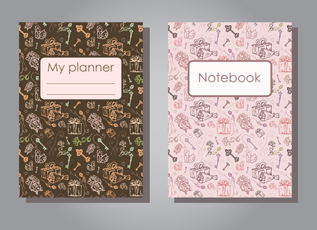 Vector illustration set design template of floral covers for planners and notebooks. Layout dark and light version of books, albums. Hand drawn creative flowers, gift, keys for notepad cover - Size A5 Иллюстрация