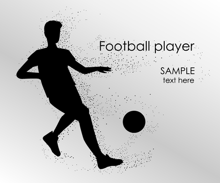 Football player silhouette - vector illustration. Man Soccer player Kick on ball. Person isolated on white background. Poster space for your text Иллюстрация