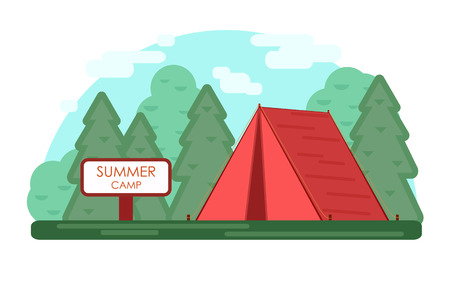 Red tent. Green Summer camp background. Vector geometric flat trend illustration. Nature tourism, camping or hiking design concept. Template for print emblem, tourist vacations poster in the forest.