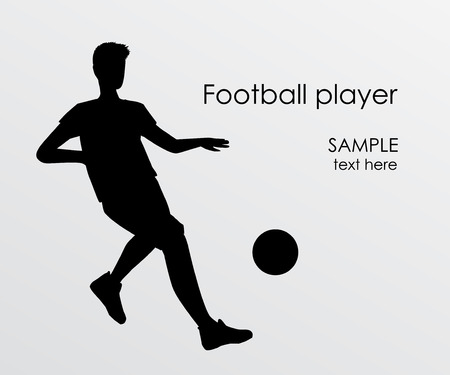 Football player silhouette - vector illustration. Man Soccer player Kick on ball. Person isolated on white background. Poster space for your text Foto de archivo - 104765220