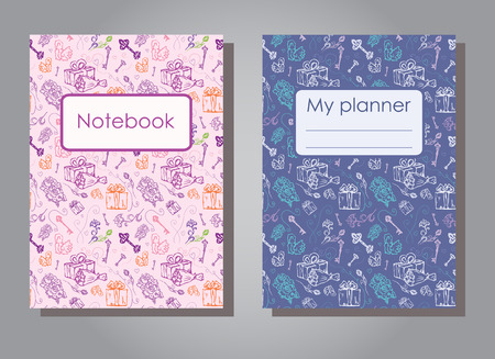 Vector illustration set design template of floral covers for planners and notebooks. Layout dark and light version of books, albums. Hand drawn creative flowers, gift, keys for notepad cover - Size A5 向量圖像