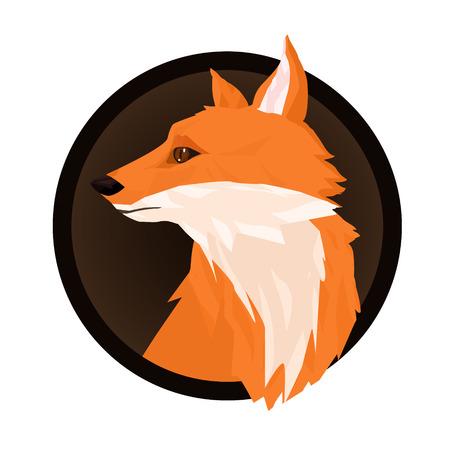 Low poly vector. Polygonal fox head design. Animal wild modern trendy illustration. Emblem, logo sign with fox in a circle. Foto de archivo - 104765121