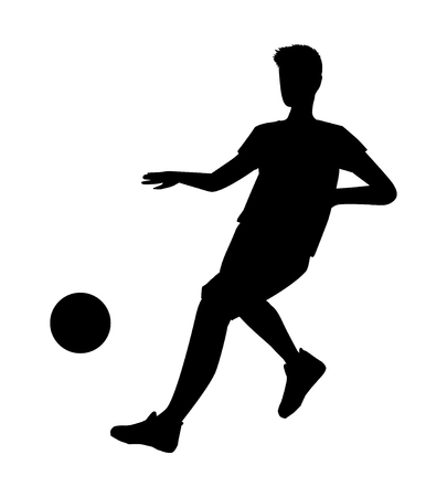 Football player silhouette - vector illustration. Man Soccer player Kick on ball. Person isolated on white background. Space for your text 向量圖像