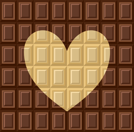 Seamless pattern - tiles of dark milk White and black chocolate. Background texture for wallpaper, wrapper, cover and packaging of desserts. World chocolate day. Heart - card about love of sweets