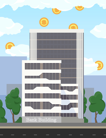 Real estate. Business building of bank and office bureaus. Business concept illustration - investment, profit flat design. Coins, dollar currency falls into the bank building from clouds.