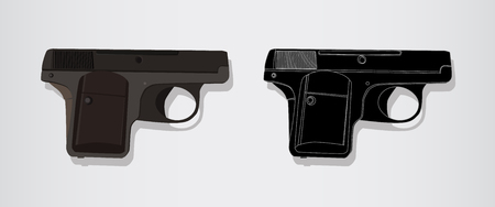 Automatic pistol of the Second World War. Isolated vector realistic and logo emblem illustration. Gun Handgun - military Weapon.