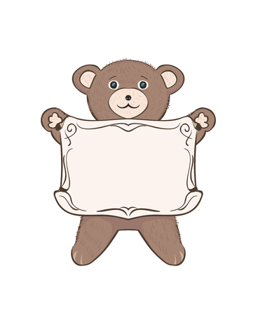 Teddy bear cub with empty frame for text. Children's vector drawing for advertising, posters, communications and education with kids. Sweet cute toy animal cartoon on a white background. Foto de archivo - 104765124