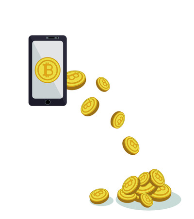 Payment online via smartphone crypto currency. The concept of bitcoins brings profit. Payments, purchases, sales and investments. Global interactions with crypto money via phone online Foto de archivo - 104765125