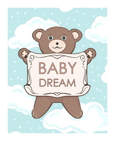 Teddy bear cub with frame for text. Baby dream shop. Childrens vector drawing for print cover, advertising, posters, postcards for kids. Sweet cute toy animal cartoon in clouds. Иллюстрация