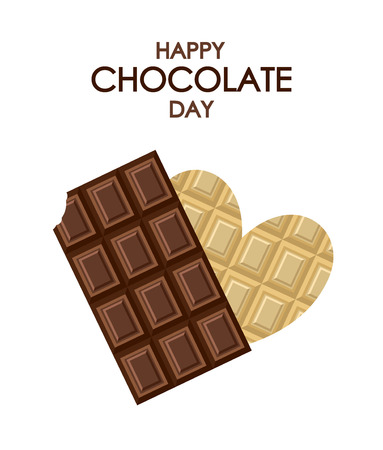 World Chocolate Day, July 11, September 13. Vector illustration card on holiday National Chocolate Day in the US, July 7, October 28. Tile of black dark milk and white chocolate in heart shape Foto de archivo - 104765128