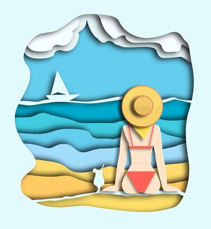 Girl in a summer hat sits on the sand near the sea or ocean on island. Paper cut layer style illustration. Modern 3d origami digital craft and paper art. White yacht sails on the waves