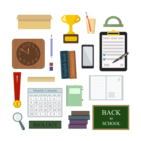 Vector set: Books, calendar, notepad, writing materials, stationery for students or schoolchildren. Collection of subjects for education in school, university, academy. Back to school.