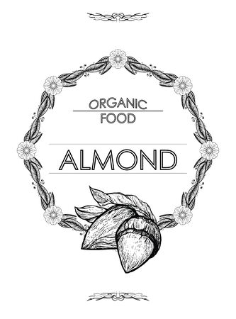 Almond - hand drawn vector illustration. Flower frame - space for brand text. Organic natural food - ingredient for oil, milk. Template for packaging