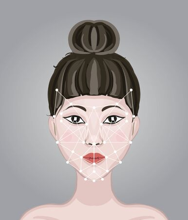 Face recognition. Facial scan to protect data from hackers. Woman Face with geometric points scanning. Search for a criminal. Technology smartphones and computers Vettoriali