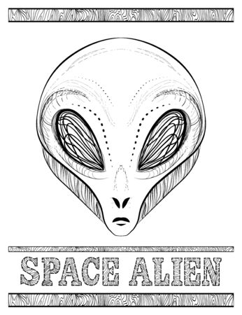 Head of alien from space - Vector hand drawing. International World UFO Day. Stylish doodle tattoo linear illustration. Printing posters for cafes, on T-shirts, stickers, postcards for the holiday