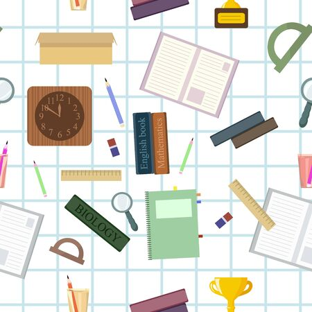 Seamless pattern with school stationery. Vector wallpapers for print on cover notebooks, children's clothes. Student preparation of subjects for return to the university, back to school. Vettoriali