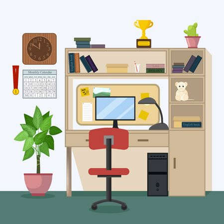 Home Workplace for education in school, university, academy. Modern teenager room interior design. Workspace for homework in Flat style - vector illustration. Boy or girl study room. Back to school Foto de archivo - 132124737