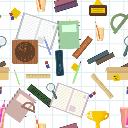 Seamless pattern with school stationery. Vector wallpapers for print on cover notebooks, children's clothes. Student preparation of subjects for return to the university, back to school. Foto de archivo - 105018633