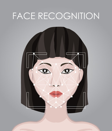 Biometrical identification. Asian woman and id Approval of face authentication system. Face recognition application. Technology smartphones: concept Facial scan system - recognition data protection.
