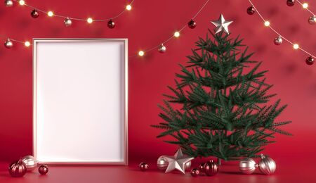 Christmas tree with toys, garlands. Empty frame space for greetings. New Year, party - 3d render illustration. Red background, gold scenery, advertising space. Blank template mockup.  Фото со стока