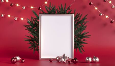 Christmas tree branches. Empty frame for greetings. New Year, party - 3d render illustration. Red background, gold scenery, advertising space. Room scene with toys, garlands.