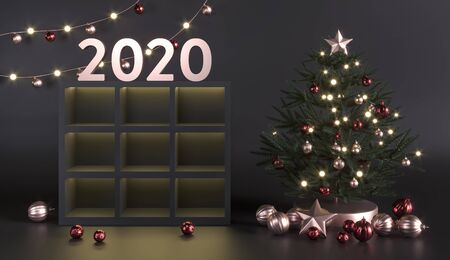 Green Christmas tree, pine. New Year mockup.2020 year dark studio template. Cupboard shelves niches for goods, toys, decoration. Empty space - 3d render illustration. Promotion sale goods Stage.